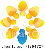 Clipart Of A Unity Team Circle Of Yellow People And A Blue Leader Royalty Free Vector Illustration