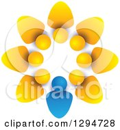 Clipart Of A Unity Team Circle Of Yellow People And A Blue Leader With Shading On White Royalty Free Vector Illustration