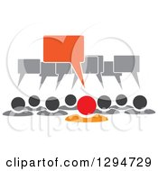 Clipart Of A Group Of Gray People With Speech Balloons And An Orange Leader Royalty Free Vector Illustration by ColorMagic