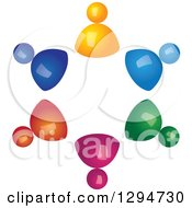 Clipart Of A Unity Team Circle Of 3d Colorful People Royalty Free Vector Illustration