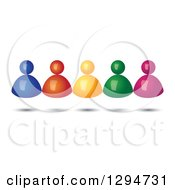 Group Of 3d Floating Colorful People With Shadows