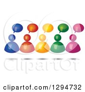 Group Of 3d Floating Colorful People With Speech Balloons And Shadows