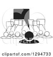 Clipart Of A Group Of Black And White People With Speech Balloons Royalty Free Vector Illustration by ColorMagic