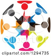 Clipart Of A Unity Team Circle Of Colorful People Talking With Speech Balloons Royalty Free Vector Illustration