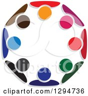 Clipart Of A Unity Team Circle Of Colorful People Huddled Royalty Free Vector Illustration