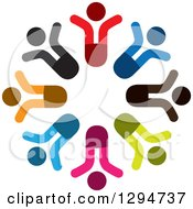 Clipart Of A Unity Team Circle Of Colorful People Cheering Royalty Free Vector Illustration