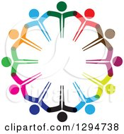 Clipart Of A Unity Team Circle Of Colorful People Holding Hands Royalty Free Vector Illustration by ColorMagic #COLLC1294738-0187