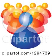 Clipart Of A Group Of 3d Orange Followers Behind A Blue Leader Royalty Free Vector Illustration