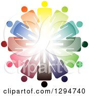 Clipart Of A Unity Team Circle Of Colorful Men And Bright Light In The Center Royalty Free Vector Illustration