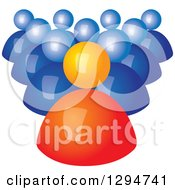 Clipart Of A Group Of 3d Blue Followers Behind An Orange Leader Royalty Free Vector Illustration