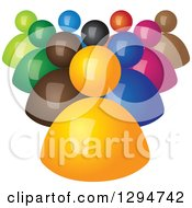 Clipart Of A Group Of 3d Colorful Followers Behind An Orange Leader Royalty Free Vector Illustration