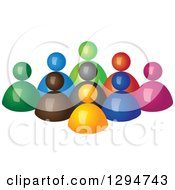 Clipart Of A Group Of 3d Colorful People Behind An Orange Leader Royalty Free Vector Illustration