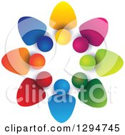 Clipart Of A Unity Team Circle Of Colorful Abstract People With Shading On White Royalty Free Vector Illustration
