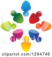 Clipart Of A Unity Team Circle Of Colorful People Some With Their Heads In Some Out Royalty Free Vector Illustration