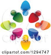 Clipart Of A Unity Team Circle Of Colorful People Some With Their Heads In Some Out With Shading On White Royalty Free Vector Illustration