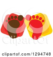 Clipart Of Brown And Red Baby Footprints Over Squares Royalty Free Vector Illustration