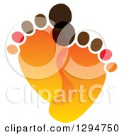 Clipart Of A Pair Of Orange And Brown Baby Footprints Royalty Free Vector Illustration
