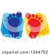 Clipart Of Blue And Red Baby Footprints Over Squares Royalty Free Vector Illustration