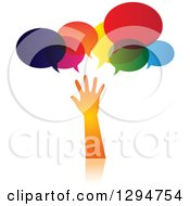 Clipart Of A Gradient Orange Hand Reaching Under Speech Bubbles Royalty Free Vector Illustration by ColorMagic