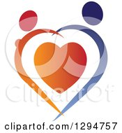Clipart Of An Abstract Red And Blue Couple Holding Hands And Dancing Over A Heart Royalty Free Vector Illustration by ColorMagic