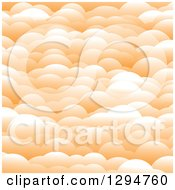 Clipart Of A Background Of Layers Of 3d Pastel Orange Puffy Clouds Royalty Free Vector Illustration
