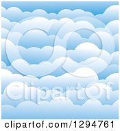 Clipart Of A Background Of Layers Of 3d Puffy Blue Clouds Royalty Free Vector Illustration