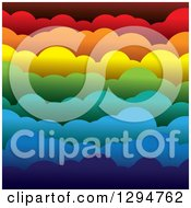 Clipart Of A Background Of 3d Layers Of Paper Rainbow Colored Puffy Clouds Royalty Free Vector Illustration by ColorMagic