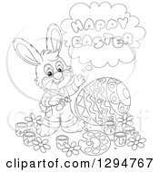 Lineart Clipart Of A Happy Black And White Male Bunny Saying Happy Easter And Painting A Giant Egg Royalty Free Outline Vector Illustration