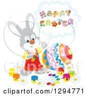 Clipart Of A Happy Gray Male Bunny Rabbit Saying Happy Easter And Painting A Giant Egg Royalty Free Vector Illustration