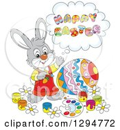 Clipart Of A Happy Gray Male Bunny Saying Happy Easter And Painting A Giant Egg Royalty Free Vector Illustration