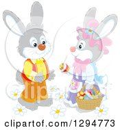 Clipart Of A Happy Gray Female Rabbit Giving An Easter Egg To A Male Bunny Royalty Free Vector Illustration