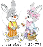 Clipart Of A Happy Gray Female Bunny Giving An Easter Egg To A Male Rabbit Royalty Free Vector Illustration by Alex Bannykh