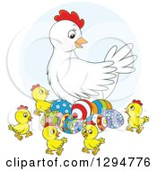 Clipart Of A White Chicken Hen With Colorful Easter Eggs And Chicks Royalty Free Vector Illustration