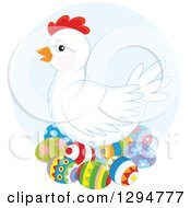 White Hen Nesting On Colorful Easter Eggs Over A Blue Circle