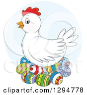 Clipart Of A White Chicken Hen Nesting On Colorful Easter Eggs Over A Blue Circle Royalty Free Vector Illustration