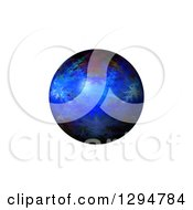 3d Blue Fractal Sphere On White