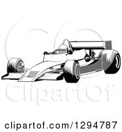 Clipart Of A Black And White Race Car And Driver Facing Left 3 Royalty Free Vector Illustration by dero