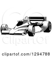 Clipart Of A Black And White Race Car And Driver Facing Left 4 Royalty Free Vector Illustration by dero