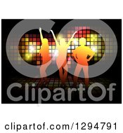 Clipart Of Orange Silhouetted Dancers Over Sparkles And Tiles On Black Royalty Free Vector Illustration