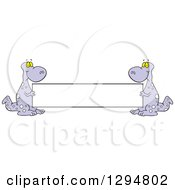 Clipart Of Cartoon Purple Dinosaurs Holding A Blank Banner Sign Royalty Free Vector Illustration