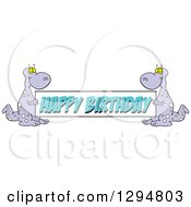 Clipart Of Cartoon Purple Dinosaurs Holding A Happy Birthday Banner Sign Royalty Free Vector Illustration