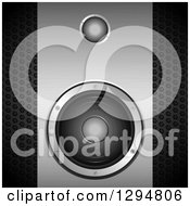 Clipart Of A 3d Grayscale Brushed And Perforated Metal Music Speaker Royalty Free Vector Illustration