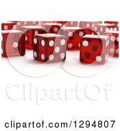 Clipart Of 3d Transparent Red Dice On A Shaded White Background With Text Space In The Front Royalty Free CGI Illustration
