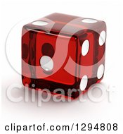 3d Transparent Red Die On A Shaded White Background