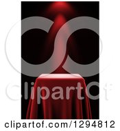 Clipart Of A 3d Presentation Pedestal Table Draped With A Red Silk Cloth With A Spotlight Royalty Free CGI Illustration