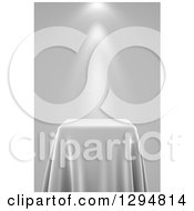 Clipart Of A 3d Grayscale Presentation Pedestal Table Draped With A Silk Cloth With Spotlights Royalty Free CGI Illustration