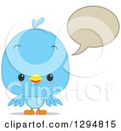 Clipart Of A Cute Happy Blue Bird Talking With A Speech Balloon Royalty Free Vector Illustration