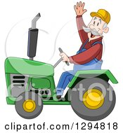 Happy Senior White Male Farmer Waving And Driving A Green Tractor