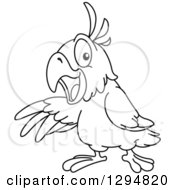 Lineart Clipart Of A Black And White Parrot Presenting To The Left Royalty Free Outline Vector Illustration