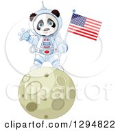Clipart Of A Cute Panda Astronaut Holding An American Flag And Waving On The Moon Royalty Free Vector Illustration
